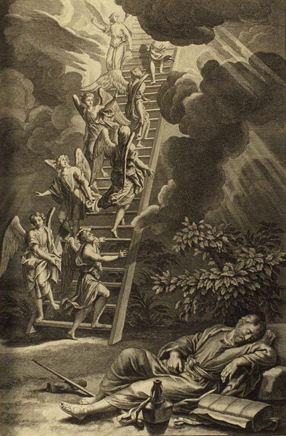 La escalera de Jacob, Gerard Hoet, Biblia Ilustrada, 1728